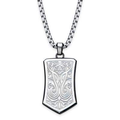 Hollis Bahringer Stainless Steel and Black Ion-Plated 22-Inch Chain Engraved Pendant Necklace