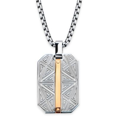 Hollis Bahringer Stainless Steel and Ion-Plated 22-Inch Engraved Pendant Necklace