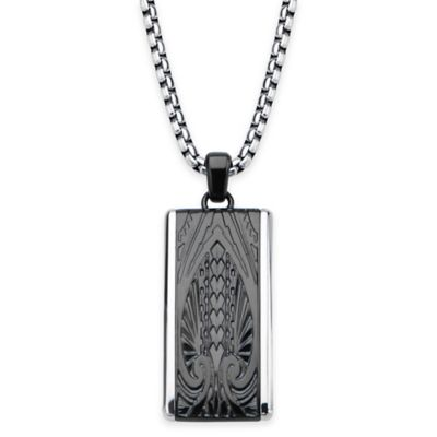 Hollis Bahringer Black Ion-Plated Stainless Steel Engraved Spade Plate Pendant Necklace