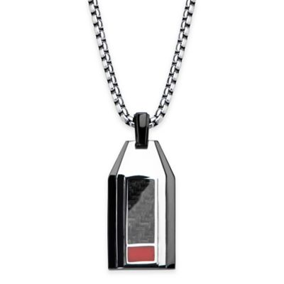 Hollis Bahringer Black Ion-Plated and Carbon Fiber 22-Inch Chain Pendant Necklace
