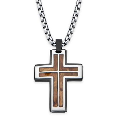Hollis Bahringer Stainless Steel and Rose Wood Inlay 22-Inch Chain Cross Pendant Necklace