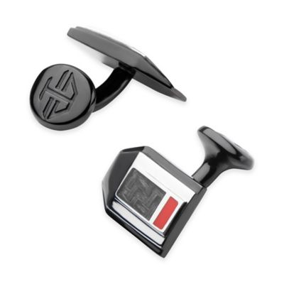 Hollis Bahringer Black Ion-Plated Stainless Steel and Carbon Fiber Cufflinks