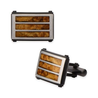Hollis Bahringer Black Ion-Plated Stainless Steel Wood Cufflinks with Wood Inlay