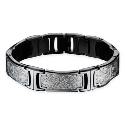 Hollis Bahringer Black Ion-Plated Stainless Steel 8-1/2 Inch Engraved Bracelet