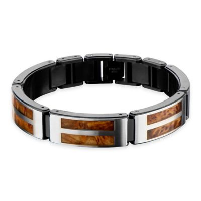 Hollis Bahringer Black Ion-Plated Stainless Steel 8-Inch Men's Bracelet with Wood Inlay