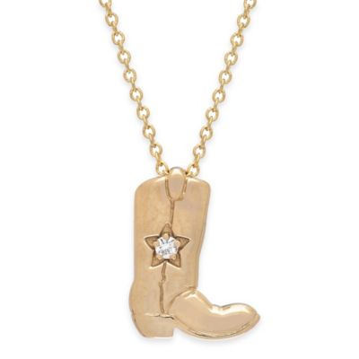 14K Yellow Gold .02 cttw Created-White Sapphire 18-Inch Chain Cowboy Boot Pendant Necklace