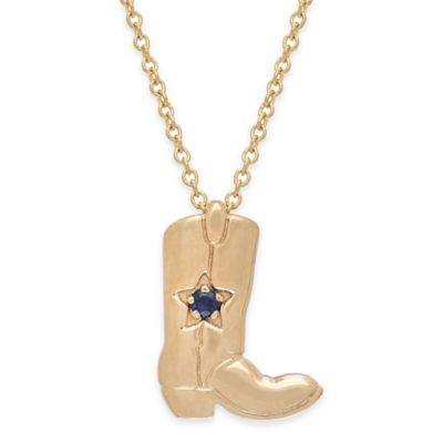 14K Yellow Gold .02 cttw Sapphire 18-Inch Chain Cowboy Boot Pendant Necklace