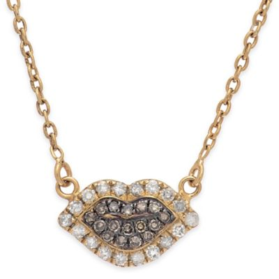 Sterling Silver and 14K Gold-Plated .21 cttw Champagne and White Diamond Lips Necklace Pendant
