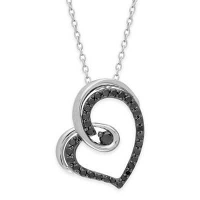 Sterling Silver .41 cttw Black Diamond 18-Inch Chain Black Open Heart Pendant Necklace