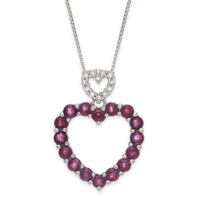 14K White Gold .07 cttw Diamond and Ruby 18-Inch Chain Double Heart Drop Pendant Necklace