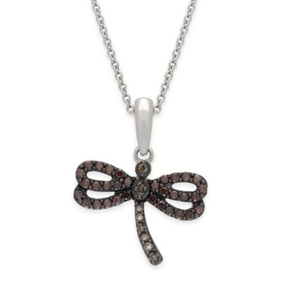 Sterling Silver .06 cttw Diamond 18-Inch Chain Dragonfly Pendant Necklace