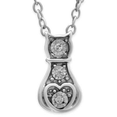 ASPCA® Tender Voices Sterling Silver .02 cttw Diamond Cat Silhouette Pendant Necklace