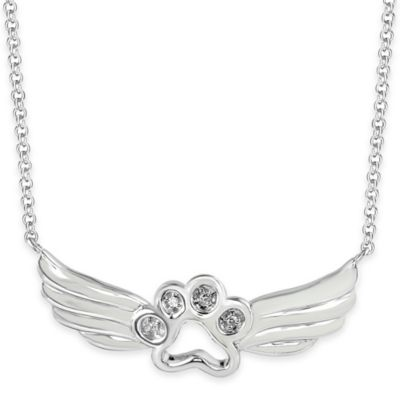 ASPCA® Tender Voices Sterling Silver .02 cttw Diamond 18-Inch Chain Winged Paw Pendant Necklace