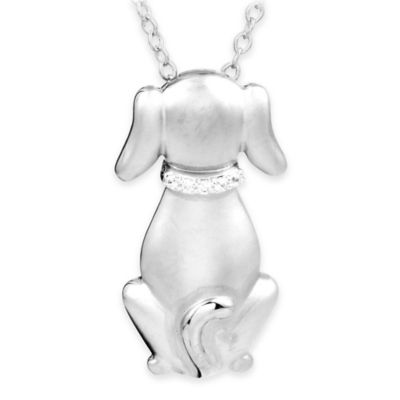 ASPCA® Tender Voices Sterling Silver .03 cttw Diamond Silhouette Pendant Necklace