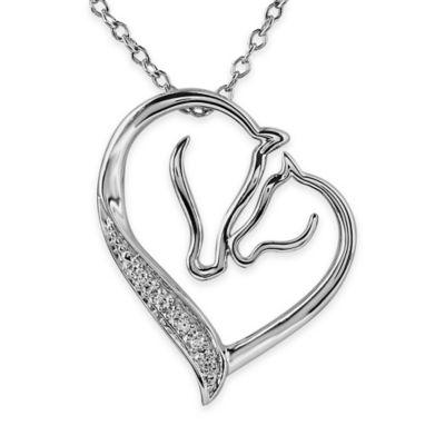 ASPCA® Tender Voices Sterling Silver .03 cttw Diamond Loving Horses Pendant Necklace