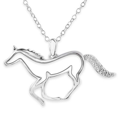 ASPCA® Tender Voices Sterling Silver .06 cttw Diamond Horse Silhouette Pendant Necklace