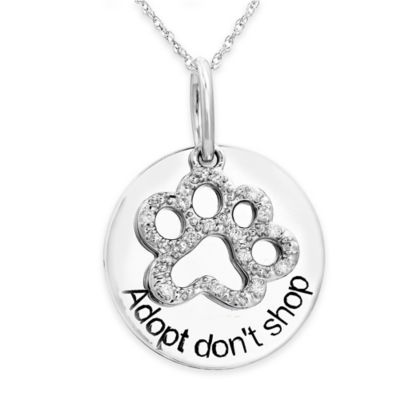 ASPCA® Tender Voices Sterling Silver .06 cttw Diamond 18-Inch Chain Adopt Paw Pendant