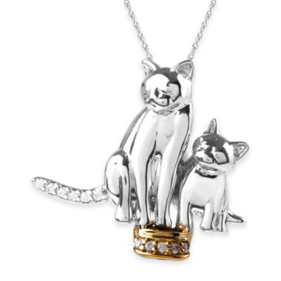 ASPCA® Tender Voices Sterling Silver .06 cttw Diamond 18-Inch Chain 2 Kitties Pendant Charm