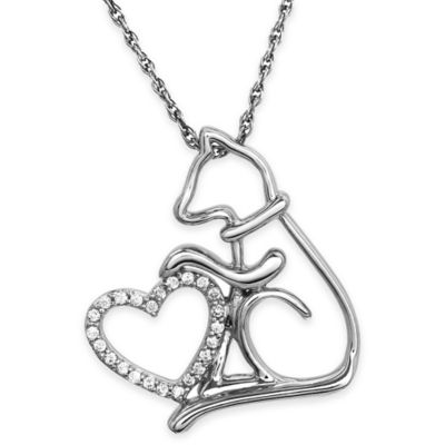 ASPCA® Tender Voices Sterling Silver .09 cttw Diamond 18-Inch Chain Cat and Heart Pendant