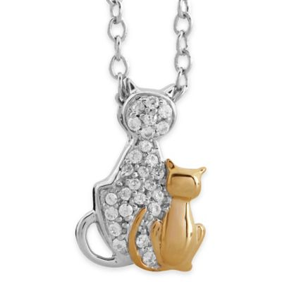 ASPCA® Tender Voices Sterling Silver and Gold-Plated .09 cttw Mother and Kitten Pendant Necklace