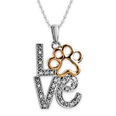 "ASPCA® Tender Voices Sterling Silver 10K Gold Plated .047 cttw Diamond ""LOVE"" Pendant Necklace"