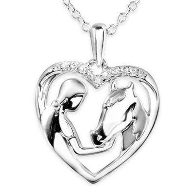 ASPCA® Tender Voices Sterling Silver .07 Cttw Diamond 18-Inch Lady and Horse Pendant Necklace