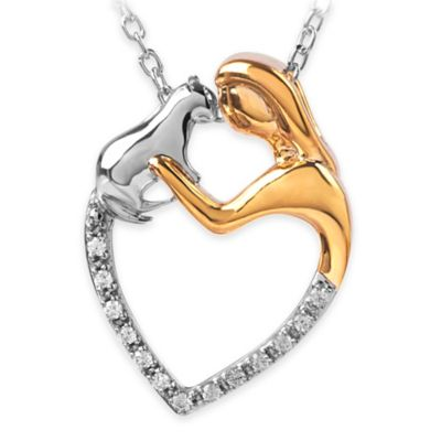 ASPCA® Tender Voices Sterling Silver 10K Gold-Plated .075 cttw Diamond Cat Lady Heart Necklace
