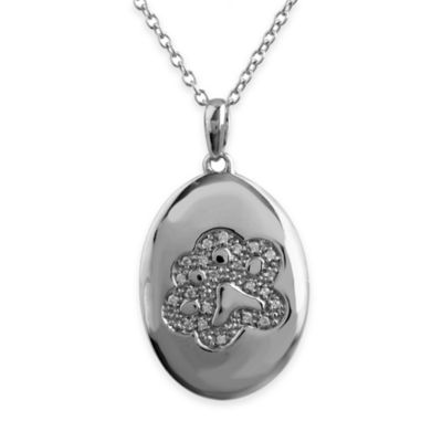ASPCA® Tender Voices Sterling Silver .09 cttw Diamond 18-Inch Chain Paw Oval Pendant Necklace