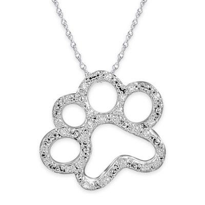 ASPCA® Tender Voices Sterling Silver 1/10 cttw Diamond 18-Inch Chain Paw Print Pendant Necklace