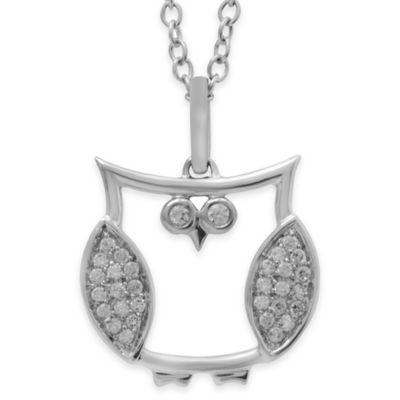ASPCA® Tender Voices Sterling Silver .11 cttw Diamond 18-Inch Chain Gold Owl Pendant Necklace