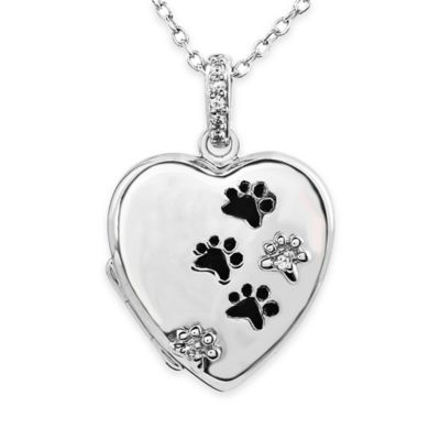 ASPCA® Tender Voices Sterling Silver .04 cttw Diamond 18-Inch Chain Paws Heart Pendant Necklace