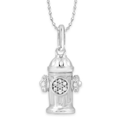 ASPCA® Tender Voices Sterling Silver 1/10 cttw Diamond Fire Hydrant Pendant Necklace