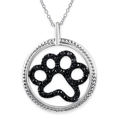 ASPCA® Tender Voices Sterling Silver .21 cttw Black Diamond Paw in Circle Pendant Necklace