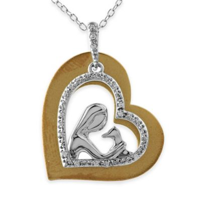 ASPCA® Tender Voices Sterling Silver and 10K Gold-Plated .11 cttw Diamond Loving Dog Pendant