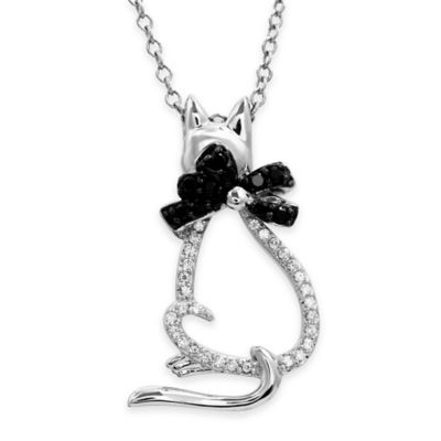 ASPCA® Tender Voices Sterling Silver .21 cttw White/Black Diamond Cat with Bow Pendant Necklace