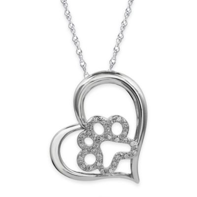 ASPCA® Tender Voices Sterling Silver .17 cttw Diamond Paw Embrace Heart Pendant