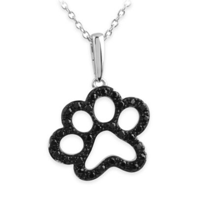 ASPCA® Tender Voices Sterling Silver .34 cttw Black Diamond 18-Inch Chain Paw Pendant