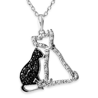 ASPCA® Tender Voices 1/4 cttw Black and White Diamond 18-Inch Chain Cat and Dog Pendant Necklace