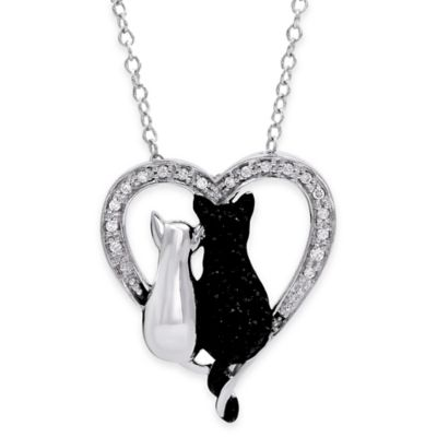 ASPCA® Tender Voices Sterling Silver Black and White 1/5 cttw Diamond Double Cat Pendant