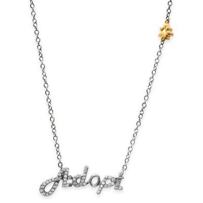 "ASPCA® Tender Voices Sterling Silver .21 cttw Diamond 17-Inch Chain ""Adopt"" Necklace"