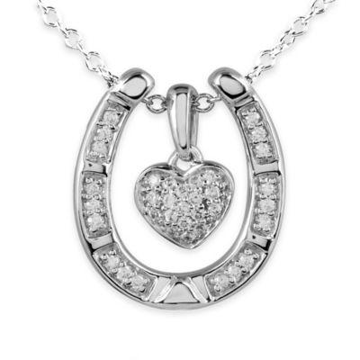 ASPCA® Tender Voices Sterling Silver .21 cttw Diamond Dangle Heart Horseshoe Pendant Necklace