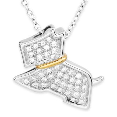 ASPCA® Tender Voices 10K Gold-Plated and Sterling Silver 1/4 cttw Diamond Scottie Pendant