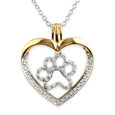 ASPCA® Tender Voices 10K Gold-Plated Sterling Silver .26 cttw Diamond Paw Embrace Heart Pendant
