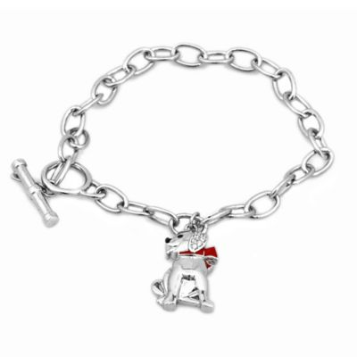 ASPCA® Tender Voices Sterling Silver .05 cttw Diamond 8-1/2 Inch Dog Charm Bracelet