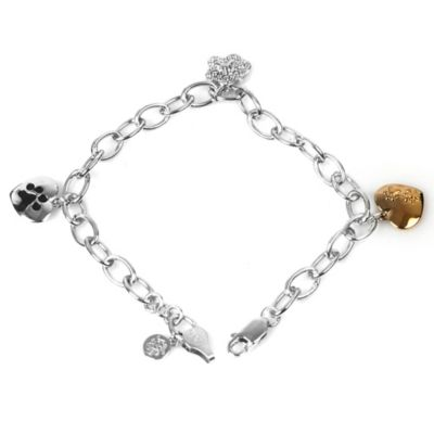 ASPCA® Tender Voices Sterling Silver 10K Gold-Plated .08 cttw Diamond 8-Inch Paw Charm Bracelet
