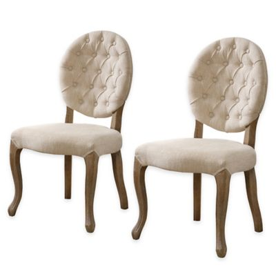 Shiraz Linen Tufted Oval Back Side Chairs in Natural (Set of 2)