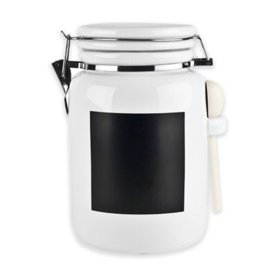 Ceramic 72 oz. Canister with Chalkboard Panel in White