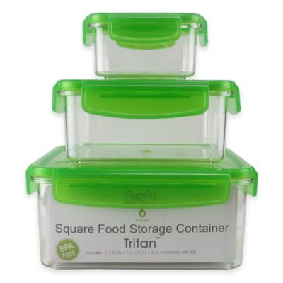 Tritan Square Food Storage Set with Locking Lids in Green (Set of 3)