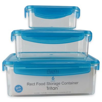 Tritan Rectangular Food Storage Set with Locking Lids in Blue (Set of 3)