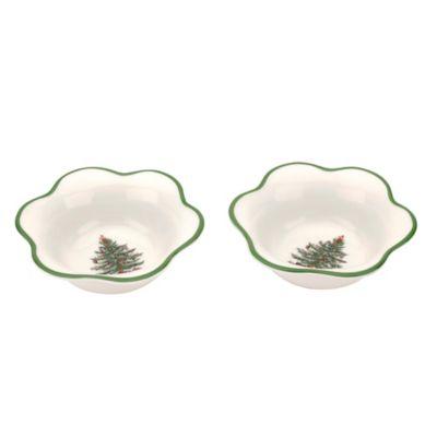 Spode® Christmas Tree Daisy-Shaped Tea Light Holders (Set of 2)